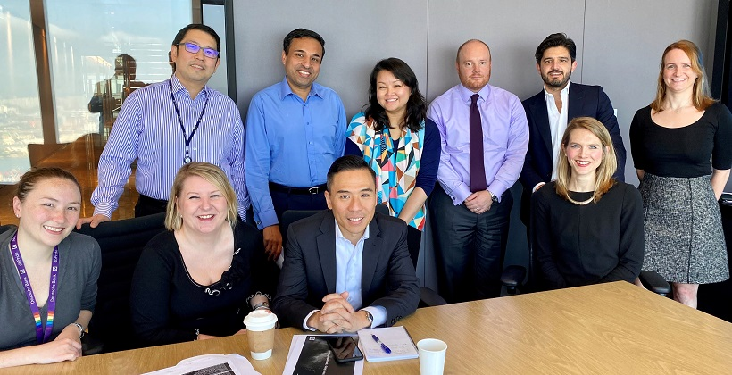 From left to right: Back – Geoffrey Yeung, Siddhartha Hari, Candice Cheng, Stuart Harding, Pietro Ciani and Claire Coleman. Front – Michelle Tennant, Vicki Noblett, Christopher Chan and Anna Lindfield
