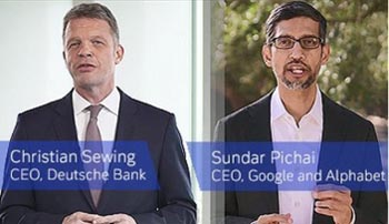 Christian Sewing and Sundar Pichai on the cloud